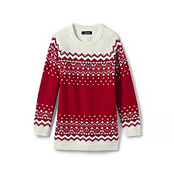 Lands' End - Red girls' fair isle tunic jumper