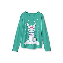 Lands' End - Blue toddler girls' long sleeve graphic t-shirt