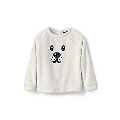 Lands' End - Cream girls' cuddly fleece critter sweatshirt