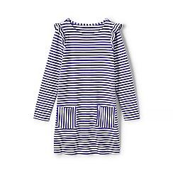 Lands' End - Purple girls' striped ruffle shoulder dress