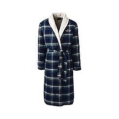 Lands' End - Blue sherpa-lined flannel dressing gown