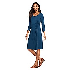 Lands' End - Blue knotted wrap jersey dress