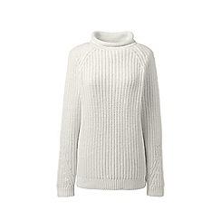 Lands' End - Cream lofty blend roll neck jumper