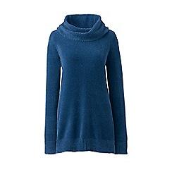 Lands' End - Blue plus chenille cowl neck sweater