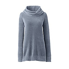 Lands' End - Grey plus chenille cowl neck sweater