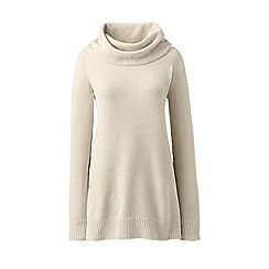 Lands' End - White plus chenille cowl neck sweater