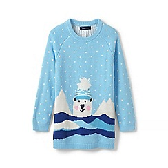 Lands' End - Blue toddler girls' polar bear tunic jumper