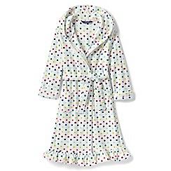 Lands' End - Cream girls' dotty ruffle hem fleece robe