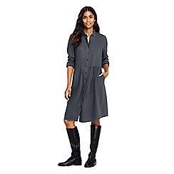 Lands' End - Grey petite brushed viscose shirt dress