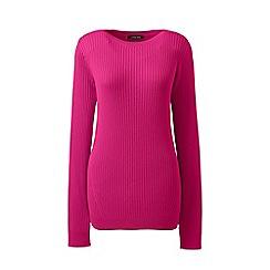 Lands' End - Pink boat neck cotton ribbed jumper