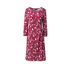 Lands' End - Red Knotted Wrap Jersey Print Dress