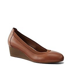 Lands' End - Brown Comfort Wedge Shoes In Leather