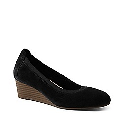 Lands' End - Black Comfort Wedge Shoes In Suede