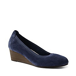 Lands' End - Navy Comfort Wedge Shoes In Suede