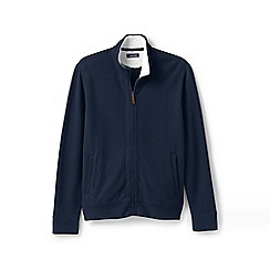 Lands' End - Blue brushed rib zip cardigan with Sherpa-lined collar
