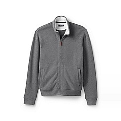Lands' End - Grey brushed rib zip cardigan with Sherpa-lined collar