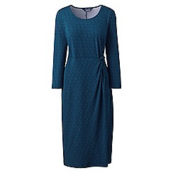 Lands' End - Blue petite knotted wrap jersey print dress