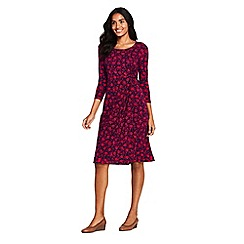 Lands' End - Red petite knotted wrap jersey print dress
