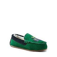 Lands' End - Green robot moccasin slippers