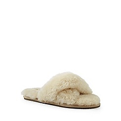 Lands' End - Beige shearling open toe slippers