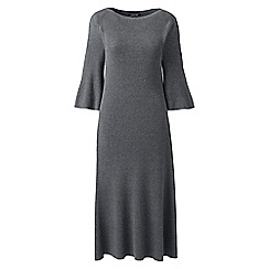 Lands' End - Grey petite fit and flare rib knitted dress