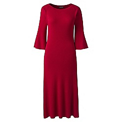 Lands' End - Red petite fit and flare rib knitted dress