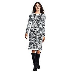 Lands' End - Multi rolled neck leopard jacquard knit dress