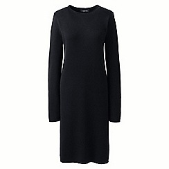 Lands' End - Black petite rolled neck detail knitted dress
