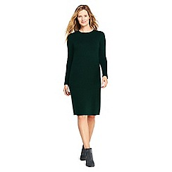 Lands' End - Green petite rolled neck detail knitted dress
