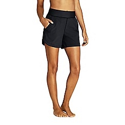 Lands' End - Black Aqua Sport Comfort Waist 5'' Swim Shorts