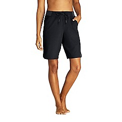 Lands' End - Black Aqua Sport Comfort Waist 9'' Swim Shorts