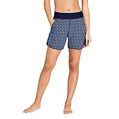 Lands' End - Blue Aqua Sport Print Comfort Waist 5'' Swim Shorts