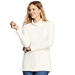 Lands' End - Cream petite roll neck fleece tunic top