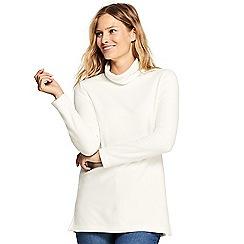 Lands' End - Cream roll neck fleece tunic top