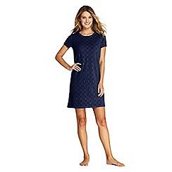 Lands' End - Navy Jacquard Terry T-Shirt Dress Beach Cover-Up