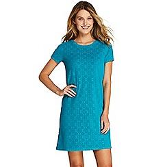 Lands' End - Blue Jacquard Terry T-Shirt Dress Beach Cover-Up