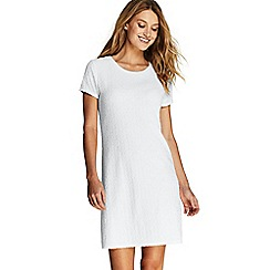 Lands' End - White Jacquard Terry T-Shirt Dress Beach Cover-Up