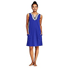 Lands' End - Blue Sleeveless Embroidered Cotton Cover-Up