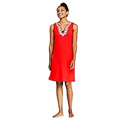 Lands' End - Red Sleeveless Embroidered Cotton Cover-Up