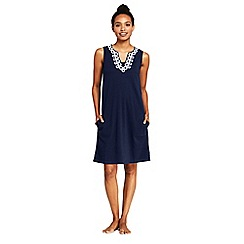 Lands' End - Navy Sleeveless Embroidered Cotton Cover-Up