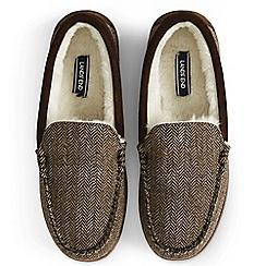 Lands' End - Brown herringbone moccasin slippers