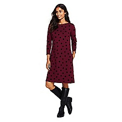 Lands' End - Red Ponte jersey dot shift dress