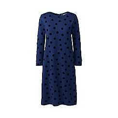 Lands' End - Blue Ponte jersey dot shift dress