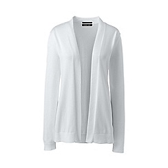 Lands' End - White Supima Fine Gauge Open Cardigan
