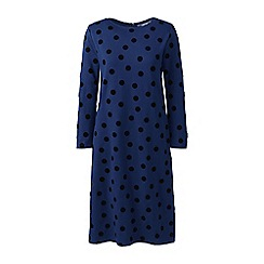 Lands' End - Blue petite ponte jersey dot shift dress