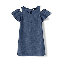 Lands' End - Blue Girls' Chambray Cold Shoulder Dress