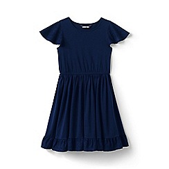 Lands' End - Blue Toddler Girls' Broderie Anglaise Trim Twirl Pure Cotton Dress