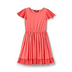 Lands' End - Orange Girls' Broderie Anglaise Trim Twirl Dress