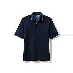 Lands' End - Blue Tipped Supima Polo Shirt, Traditional Fit