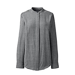 Lands' End - Black double weave band collar shirt